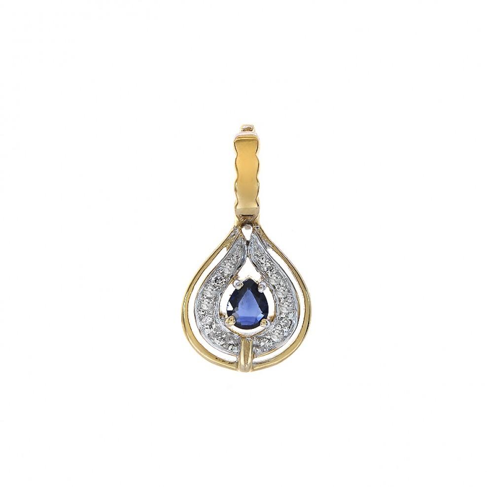 31e0f75747 Jewelry. 0.10 Carat Diamonds and 0.25 Carat Sapphire Pendant in 14K Yellow  Gold