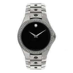 Movado Valeto Stainless Steel Watch Custom Diamond Bezel 84 G1 1890