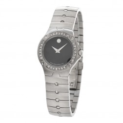 Movado Museum Sport Edition Stainless Steel Ladies Watch Custom Diamond Bezel 84 G4 1851