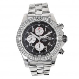 Breitling Super Avenger Stainless Steel Chronograph Watch Custom Diamond Bezel A13370