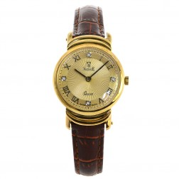 Vicence Ladies 14K Yellow Gold Wristwatch on Genuine Leather Strap