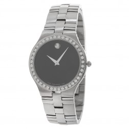 Movado Juro Stainless Steel Watch Custom Pave Set Diamond Bezel 0605023