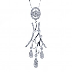 1.00 Carat Round Diamond Chandelier Pendant on Bar & Ball Link Chain 14k White Gold