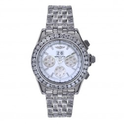 Breitling Windrider Crosswinds Special Chronograph Stainless Steel Watch 9 Carat Diamond Bezel & Bracelet  A44355