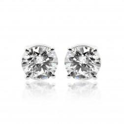 2.05 Carat Round Brilliant Cut Diamond Stud Earrings 14K White Gold