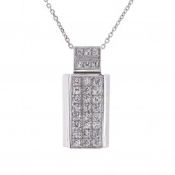0.75 Carat Pavé Set Cubic Zirconia Pendant on Cable Link Chain 14k White Gold