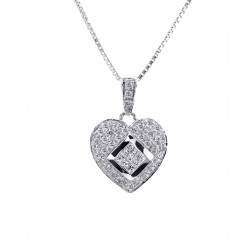 0.75 Carat Round & Princess Cut Diamond Heart Pendant on Box Link Chain 14K White Gold