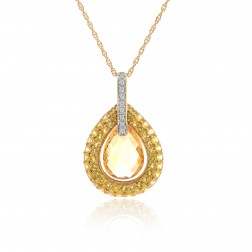 3.08 Carat Pear Shape Citrine Diamond Dangle Pendant Cable Link Chain 14K Yellow Gold