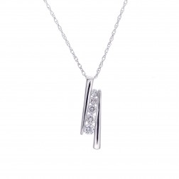 0.35 Carat Round Cut Diamond Five Stone Pendant on Wheat Link Chain 14K White Gold
