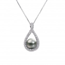 0.60 Carat Pavé Round Diamond & Black Tahitian Pearl Pendant Necklace 14K White Gold