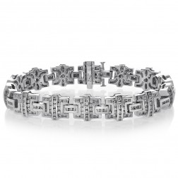 7.27 Carat Mens Channel Set Round Diamond Bracelet 14K White Gold
