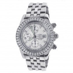 Breitling Chronomat Evolution Stainless Steel Watch with 6.50 Carat Custom Bezel A13356