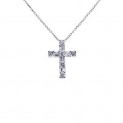 0.75 Carat Round & Baguette Cut Diamond Cross 14K White Gold
