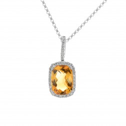 0.20 Carat Cushion Cut Citrine Round Diamond Frame Pendant 14K White Gold