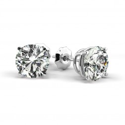 3.67 Carat Round Brilliant Diamond Stud Earrings 14K White Gold