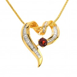 0.75 Carat Baguette Cut Diamond & Garnet Heart Pendant on Snake Chain 14K Yellow Gold
