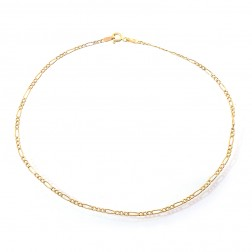14K Yellow Gold Classic Figaro Link Ankle Bracelet