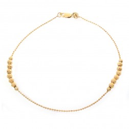 14K Yellow Gold Sliding Ball Bar Link Ankle Bracelet