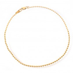 14K Yellow Gold Ball Link Chain Ankle Bracelet