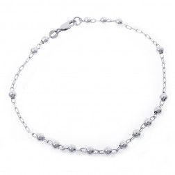 14K White Gold Sliding Ball Anchor Link Ankle Bracelet