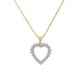 0.20 Carat Round Cut Diamond Accent Heart Pendant 10K Yellow Gold