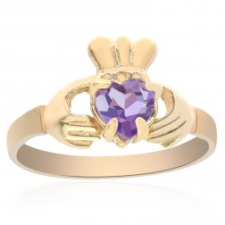 10K Yellow Gold Irish Claddagh Ring Amethyst Size 6.5