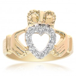 14K Yellow Gold Irish Claddagh Ring Diamonds Size 8