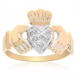 14K Yellow Gold Irish Claddagh Ring Diamonds Size 7.5