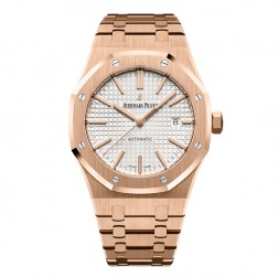 Audemars Piguet Royal Oak 18K Rose Gold Watch White Dial 15400OR.OO.1220OR.02