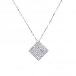 1.75 Carat Invisible Set Princess Diamond Pendant on Cable Link Chain 14K White Gold