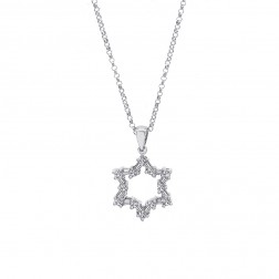 0.45 Carat Round & Baguette Cut Diamond Star of David Pendant 14K White Gold