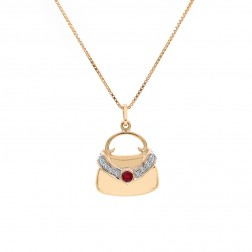 0.30 Carat Round Cut Diamond & Ruby Handbag Gold Pendant Necklace 14K Yellow Gold