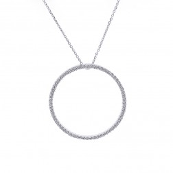 0.75 Carat Round Diamond Circle Of Love Pendant on Rolo Link Chain 14K White Gold