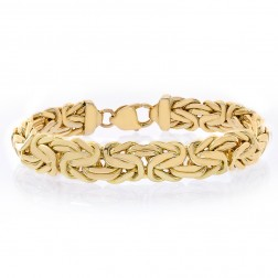 11.5mm 14k Yellow Gold Byzantine Bracelet