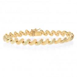 7.6mm 14K Yellow Gold San Marco Fancy Bracelet Italy
