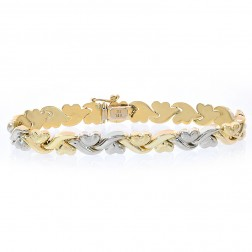 8.2mm Ladies 14K Two Tone Gold Hearts and Kisses Bracelet