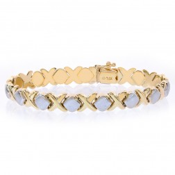 8.3mm Ladies 14K Two Tone Gold Hugs and Kisses Bracelet