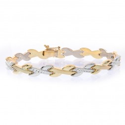 8.1mm 14K Two Tone Gold Diamond Cut Braided Link Bracelet