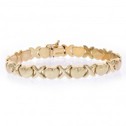 8.1mm Ladies 14K Yellow Gold Hearts and Kisses Bracelet