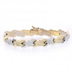 8.6mm 14K Two Tone Gold Fancy Diamond Cut Wave Link Bracelet