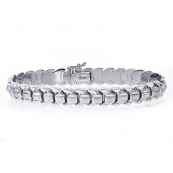 8.8mm 14K White Gold Fancy Link Bracelet