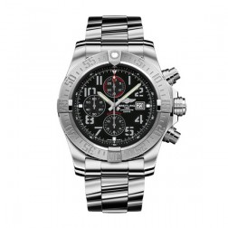 Breitling Super Avenger II Steel Chronograph Watch Black Arabic Dial A1337111/BC28/168A
