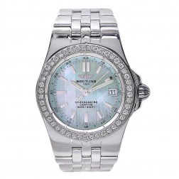 Breitling Windrider Starliner Stainless Steel Watch Custom Diamond Bezel A71340