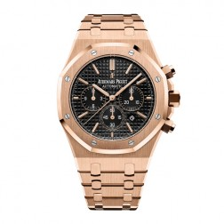 Audemars Piguet Royal Oak 18K Rose Gold Chronograph Watch Black Dial 26320OR.OO.1220OR.01