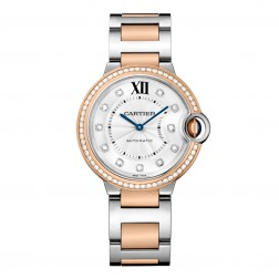 Cartier Ballon Bleu de Cartier 18K Rose Gold & Steel 36mm Watch Diamond Dial/Bezel W3BB0004