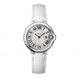 Cartier Ballon Bleu de Cartier Stainless Steel 33mm Watch on White Strap W6920086