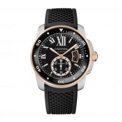 Cartier Calibre de Cartier Steel & 18K Rose Gold Divers Watch W7100055