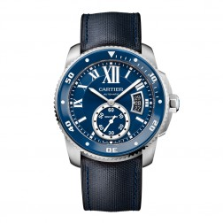Cartier Calibre de Cartier Stainless Steel Watch on Blue Leather Strap WSCA0010