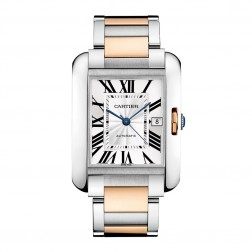 Cartier Tank Anglaise Stainless Steel & 18K Rose Gold XL Watch on Bracelet W5310006