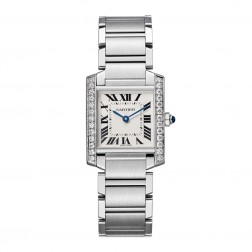 Cartier Tank Française Stainless Steel Ladies Medium Watch Diamond Bezel W4TA0009